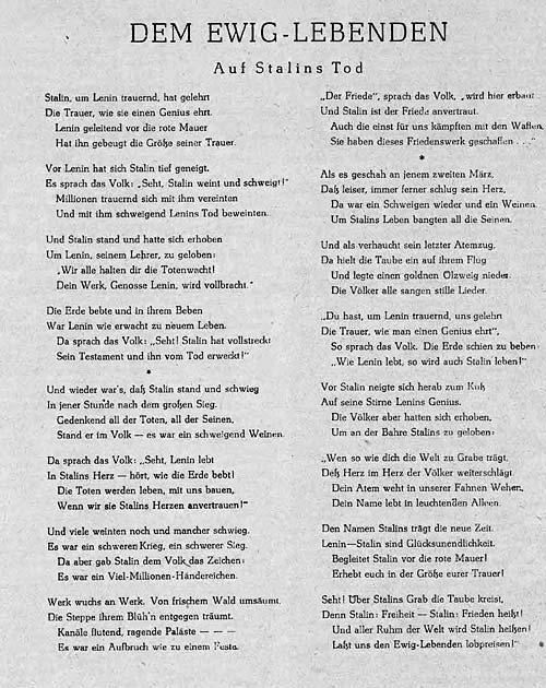 17 Juni 1953 Gedicht Von Johannes R Becher Zum Tode Stalins
